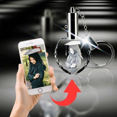 3D Crystal Heart Keychains